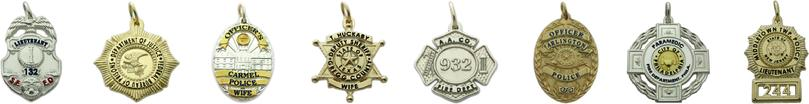 sterling silver, 10k and 14k white and yellow gold custom badge jewelry pendants and charms